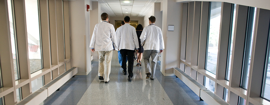 students walking through the school