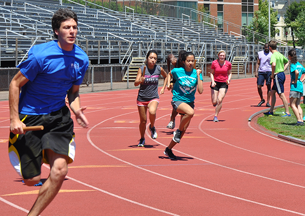 Students running on a track