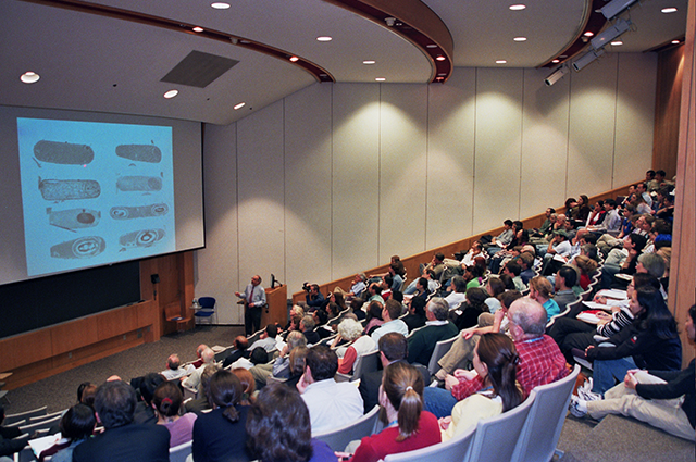 Presenter and audience at an event